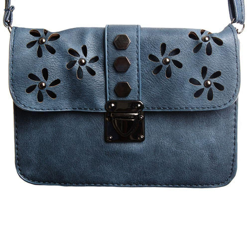 Portable Personal Electronics Ipads Tablets Accessories - Laser Cut Studded Flower Design Crossbody Clutch, Slate