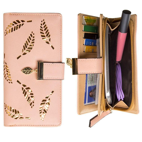 Samsung Galaxy S6 - Vegan Leather Laser-Cut Leaf Clutch wallet, Peach