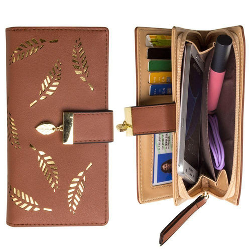 Other Brands Alcatel C1 - Vegan Leather Laser-Cut Leaf Clutch wallet, Brown
