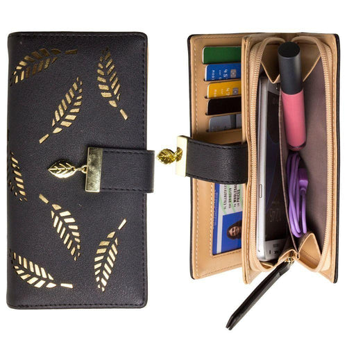 Other Brands Alcatel C1 - Vegan Leather Laser-Cut Leaf Clutch wallet, Black