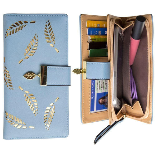 Other Brands Microsoft Lumia 430 - Vegan Leather Laser-Cut Leaf Clutch wallet, Light Blue