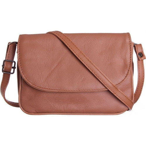 Zte Score - Genuine Leather Shoulder / Crossbody Handbag, Brown