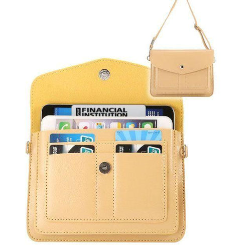 Samsung Galaxy Note 4 - Organizer Crossbody Bag with Card Slots, Cream