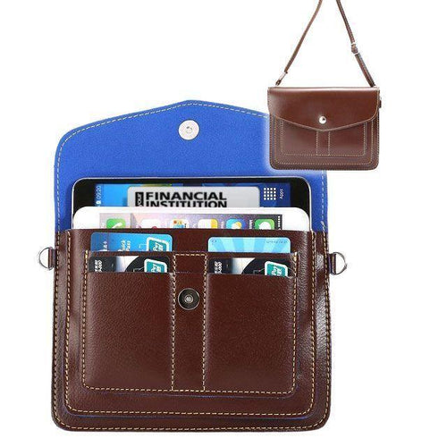 Other Brands Microsoft Lumia 532 - Organizer Crossbody Bag with Card Slots, Brown