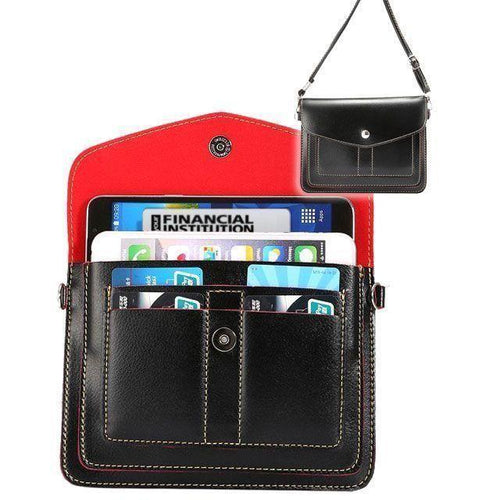 Motorola Moto E - Organizer Crossbody Bag with Card Slots, Black