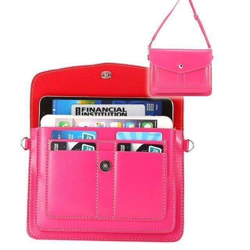 Samsung Galaxy Note 4 - Organizer Crossbody Bag with Card Slots, Pink