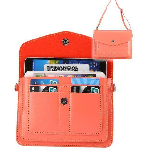 Sony Ericsson Xperia Zr C5502 - Organizer Crossbody Bag with Card Slots, Coral