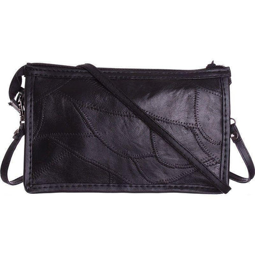 Motorola Moto E - Genuine Leather Stitched Pieces Crossbody, Black