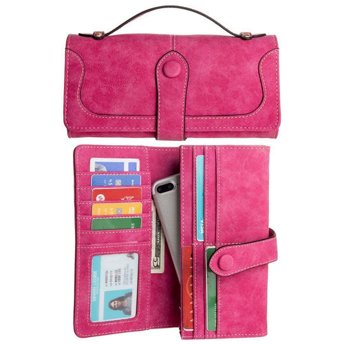 Huawei Nova 2 Plus - Snap Button Clutch Compact wallet with handle, Hot Pink