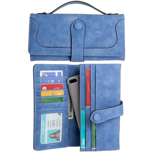 Nokia 215 - Snap Button Clutch Compact wallet with handle, Light Blue