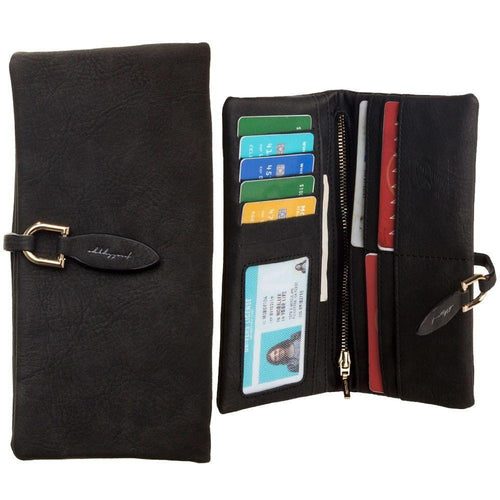 Zte Engage - Slim Suede Leather Clutch Wallet, Black
