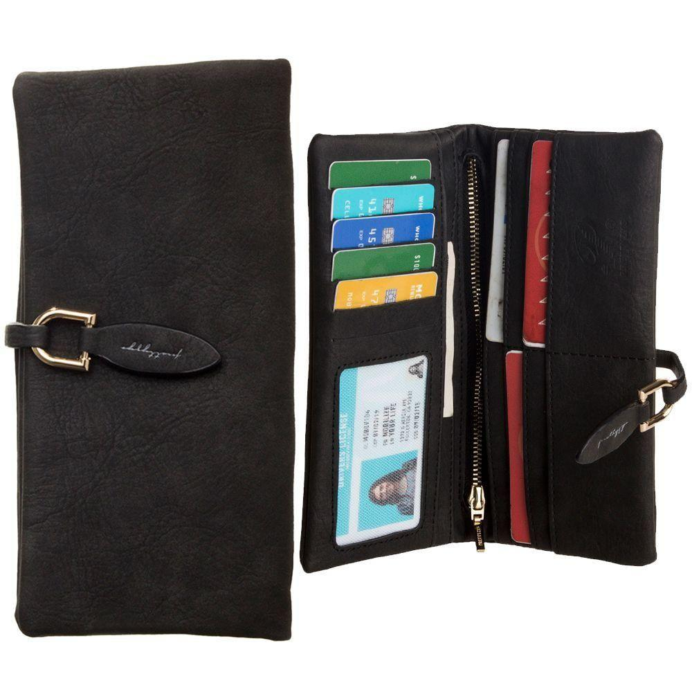 Iphone 6s Plus - Slim Suede Leather Clutch Wallet, Black