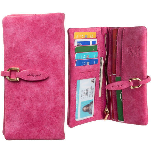 Samsung Galaxy Note 4 - Slim Suede Leather Clutch Wallet, Hot Pink