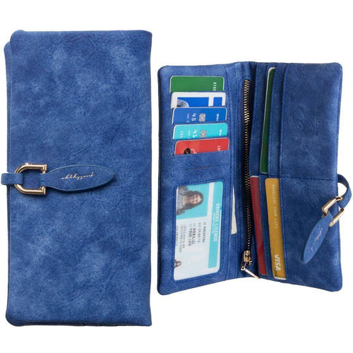 Zte Engage - Slim Suede Leather Clutch Wallet, Blue