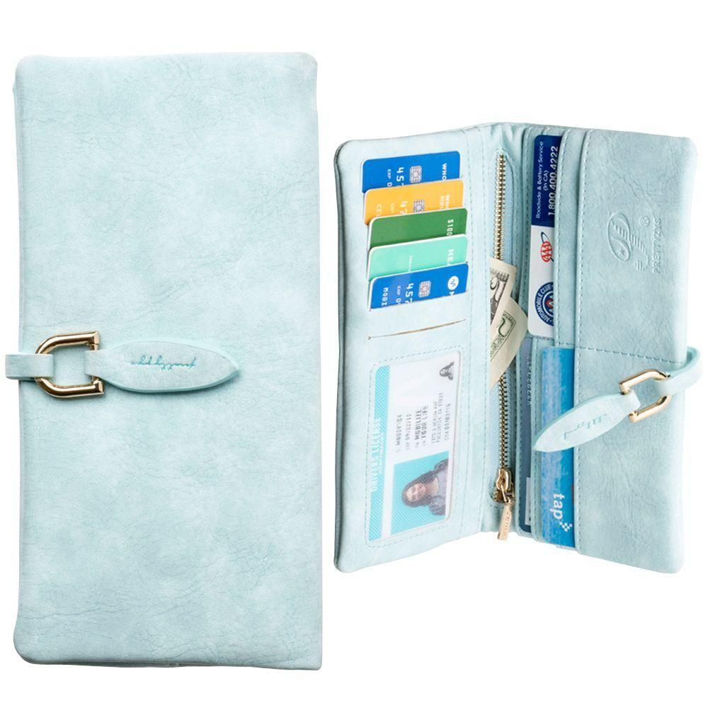 - Slim Suede Leather Clutch Wallet, Sky Blue