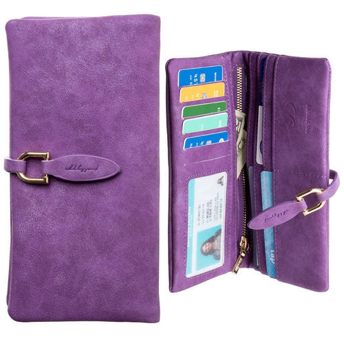 Samsung Galaxy S6 - Slim Suede Leather Clutch Wallet, Purple