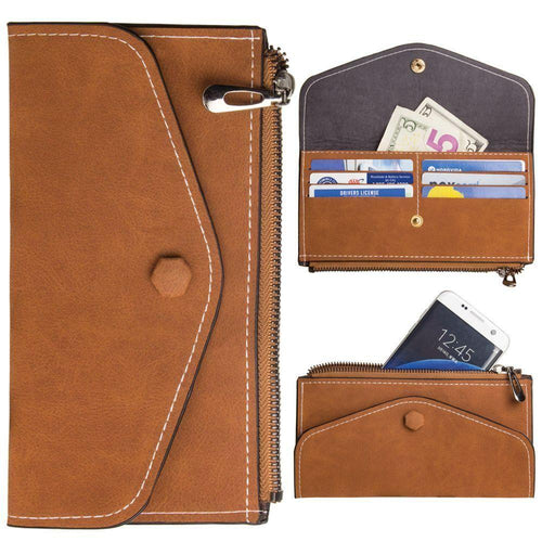 Other Brands Alcatel One Touch Evolve - Extra Slim Snap Button Clutch wallet with Zipper, Brown