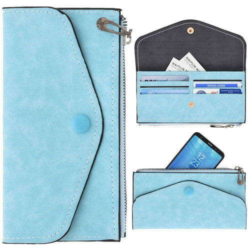 Other Brands Alcatel Onetouch Fling - Extra Slim Snap Button Clutch wallet with Zipper, Light Blue
