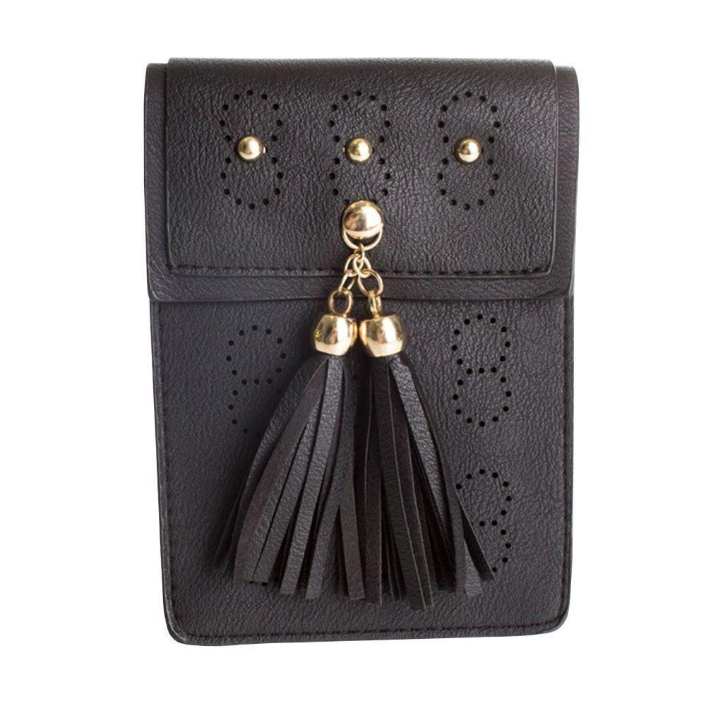 Coupe Cdm 8630 - Leather Tassel Crossbody Bag with Detachable Strap, Black