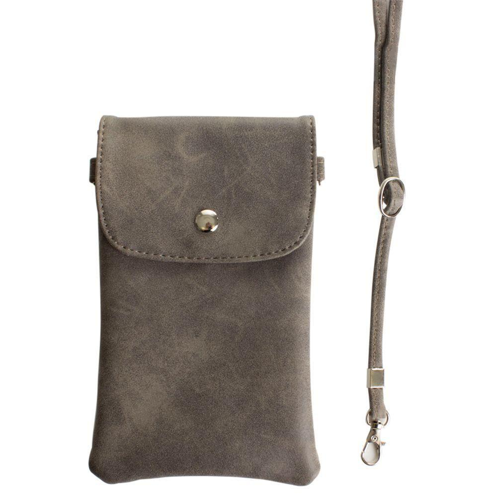 - Leather Matte Crossbody bag with back zipper, Gray