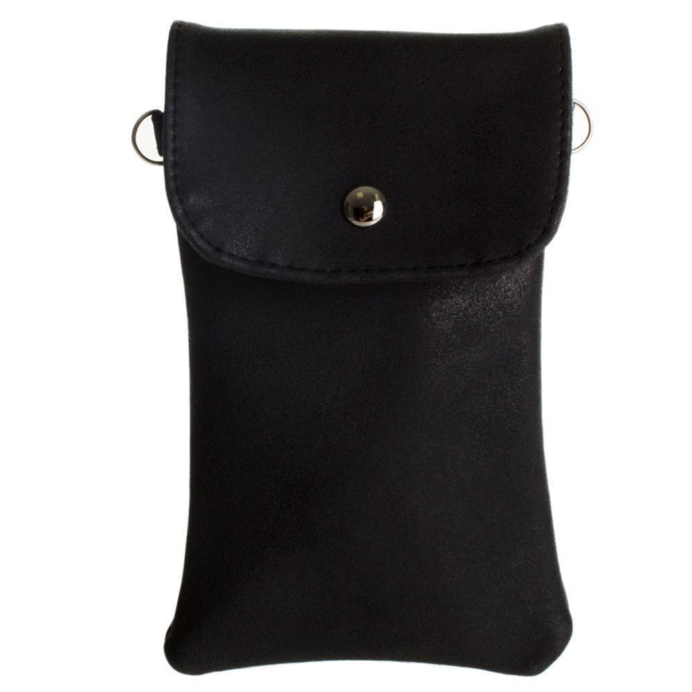 - Leather Matte Crossbody bag with back zipper, Black