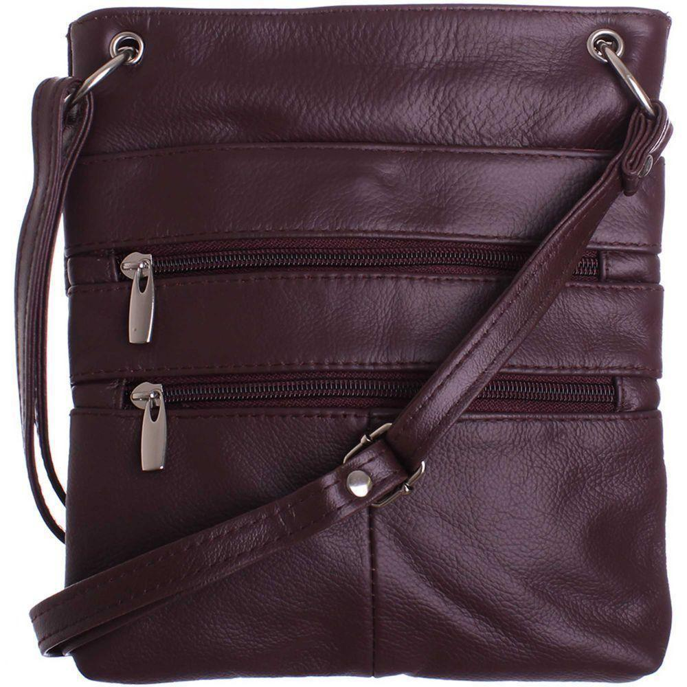 Renown Sch U810 - Genuine Leather Double Zipper Crossbody / Tote Handbag, Wine