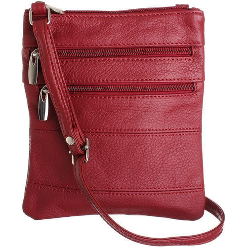 Zte Score - Genuine Leather Double Zipper Crossbody / Tote Handbag, Red
