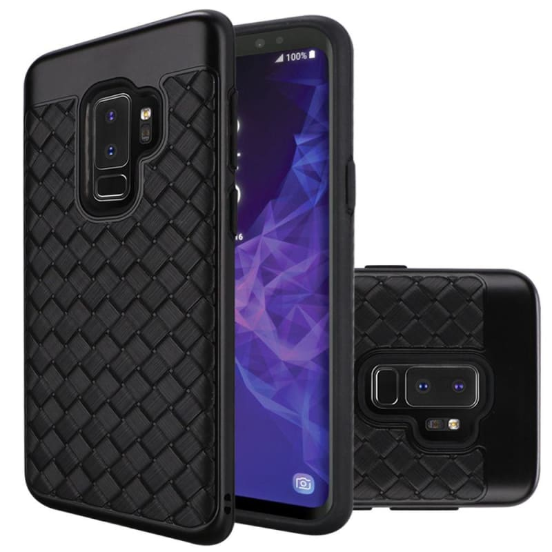 Woven Textured Design Dual layer Hybrid Case, Black for Samsung Galaxy S9 Plus
