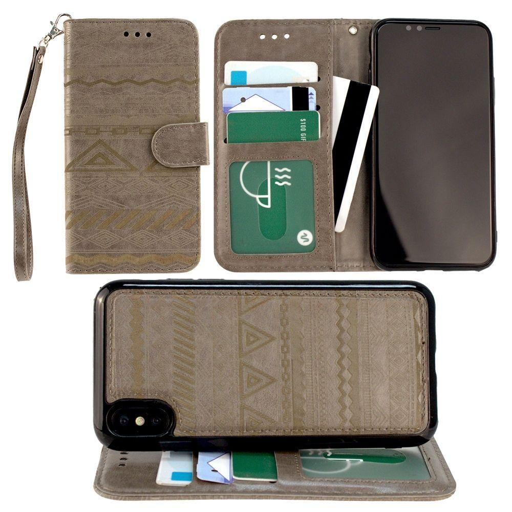 low priced ce3cd 97012 Apple iPhone X Aztec tribal laser-cut wallet with detachable matching slim  case and wristlet, Gray