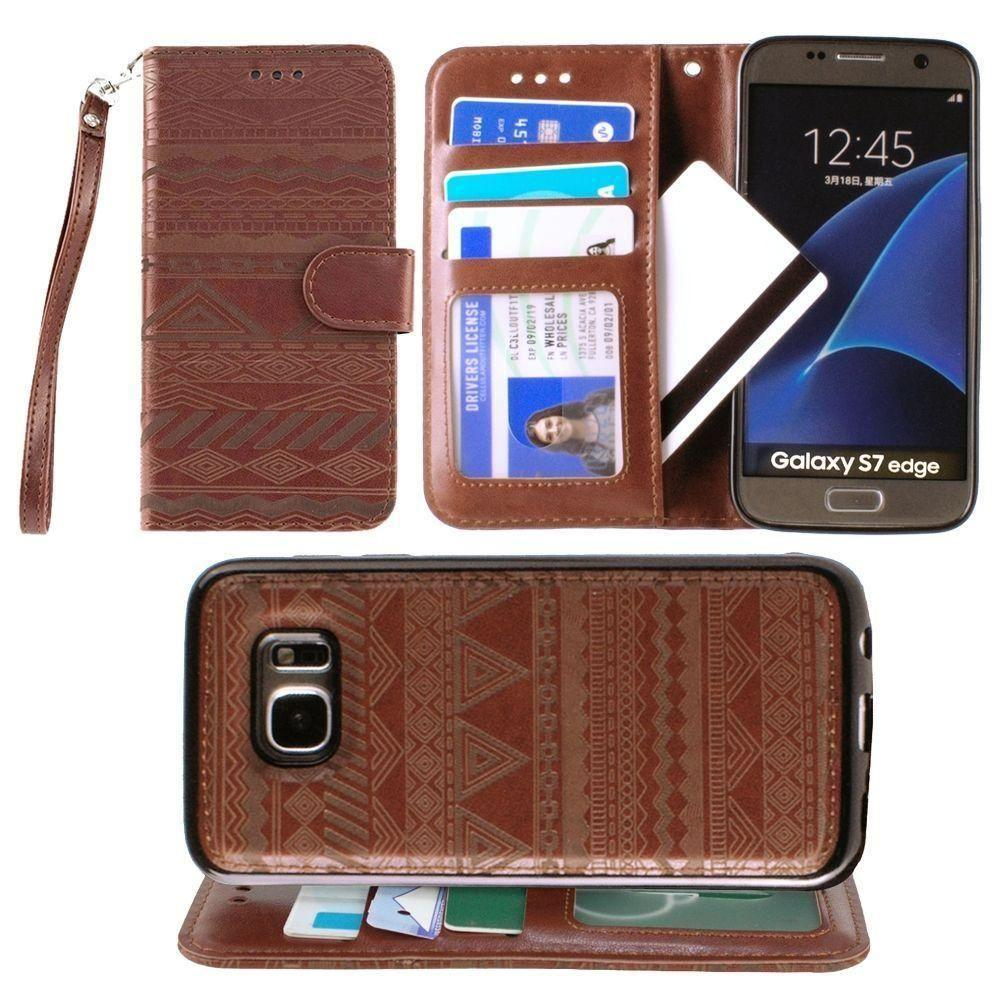 - Aztec tribal laser-cut wallet with detachable matching slim case and wristlet, Maroon for Samsung Galaxy S7 Edge