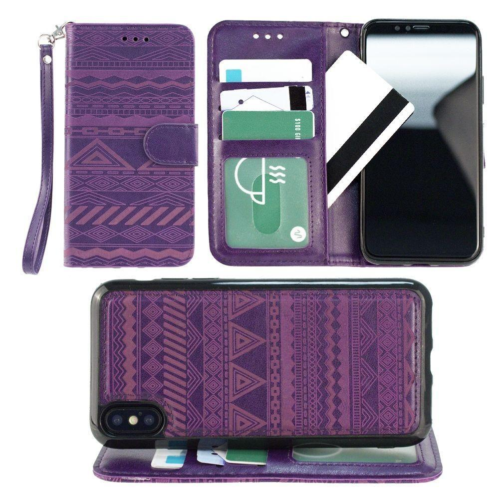 - Aztec tribal laser-cut wallet with detachable matching slim case and wristlet, Purple for Apple iPhone X