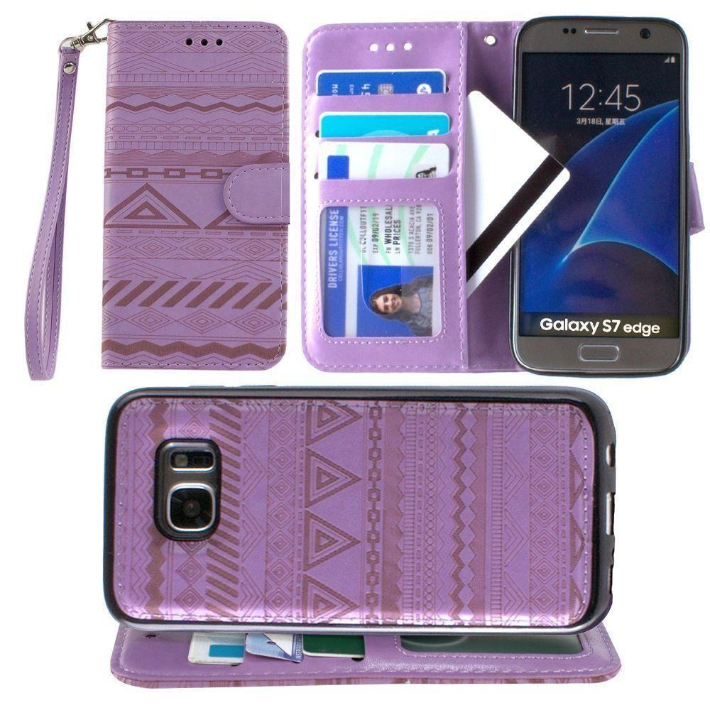 - Aztec tribal laser-cut wallet with detachable matching slim case and wristlet, Lavender for Samsung Galaxy S7 Edge
