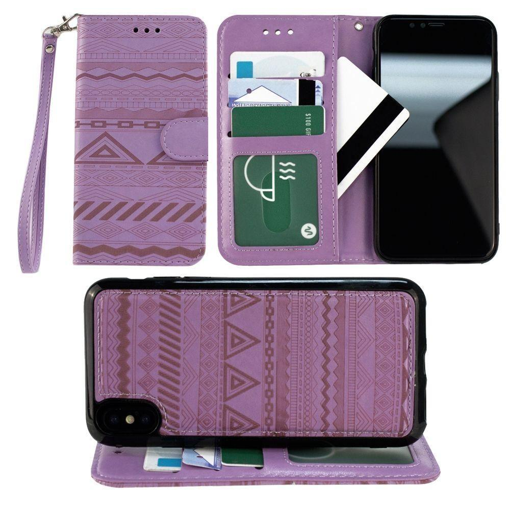 - Aztec tribal laser-cut wallet with detachable matching slim case and wristlet, Lavender for Apple iPhone X