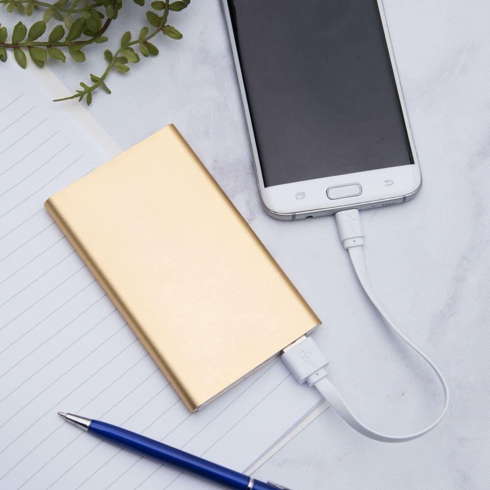 305c - 4000mAh Slim Portable Battery Charger/Power Bank, Gold