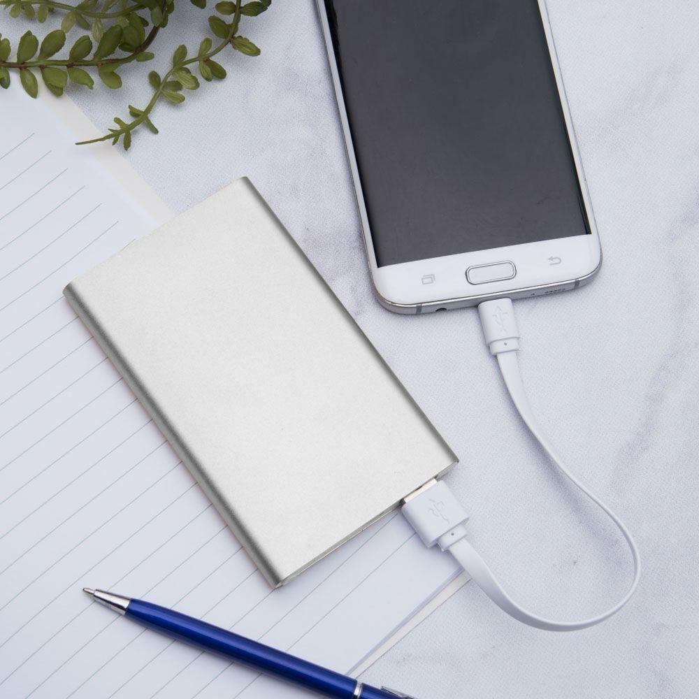 - 4000mAh Slim Portable Battery Charger/Power Bank, Silver