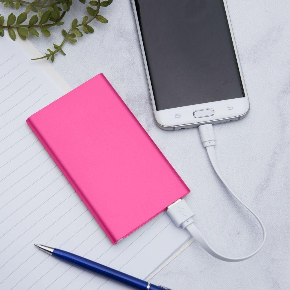 - 4000mAh Slim Portable Battery Charger/Power Bank, Hot Pink