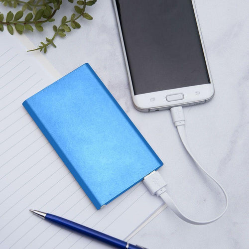 Zte Source - 4000mAh Slim Portable Battery Charger/Power Bank, Blue