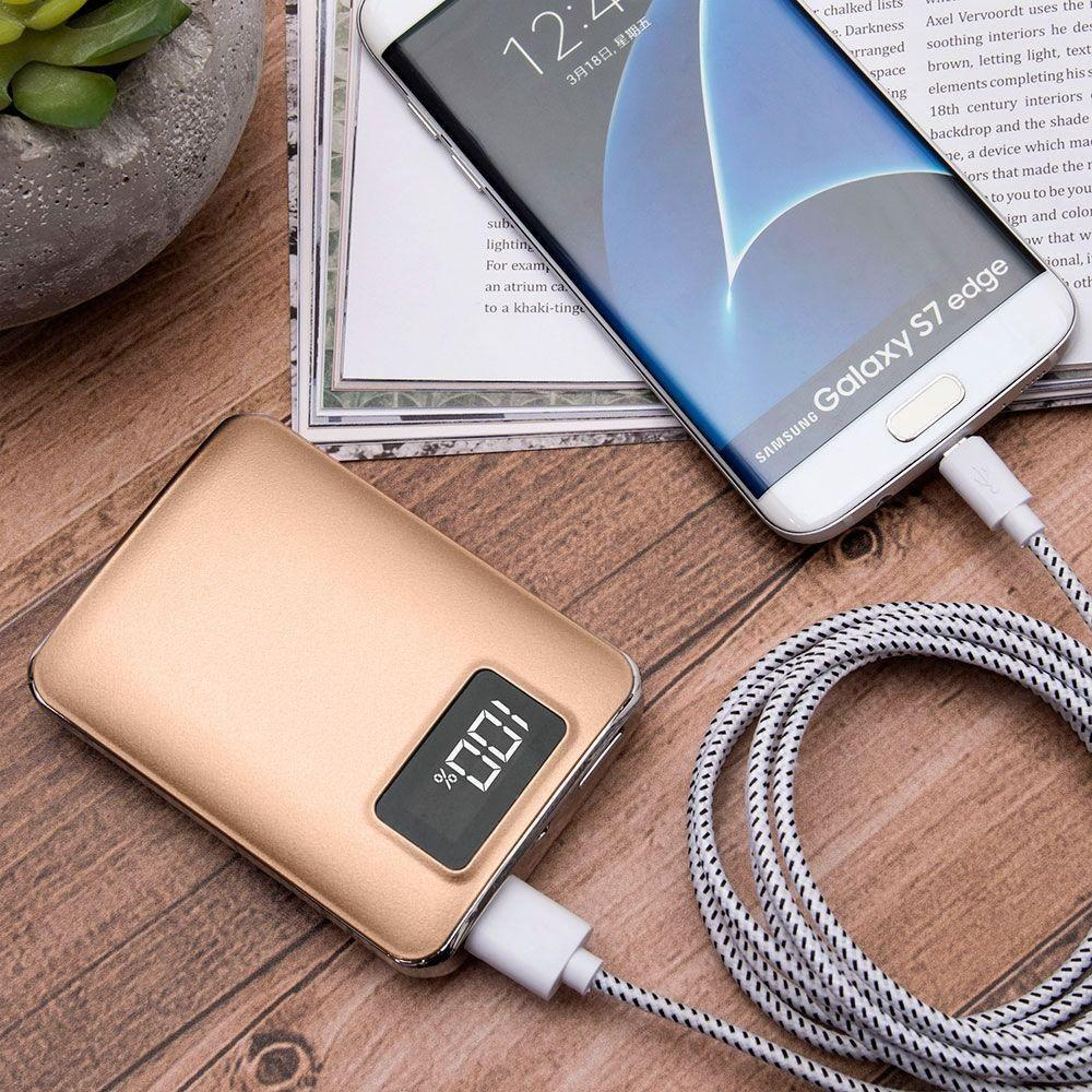 4,500 mAh Portable Battery Charger/Powerbank with 2 USB Ports, LCD Display  and Flashlight, Gold