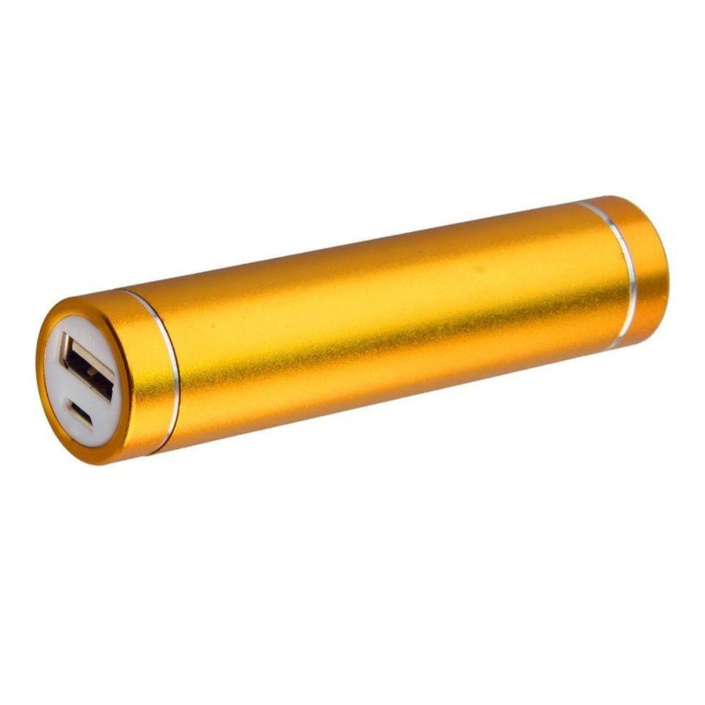 Snapto - Universal Metal Cylinder Power Bank/Portable Phone Charger (2600 mAh) with cable, Gold