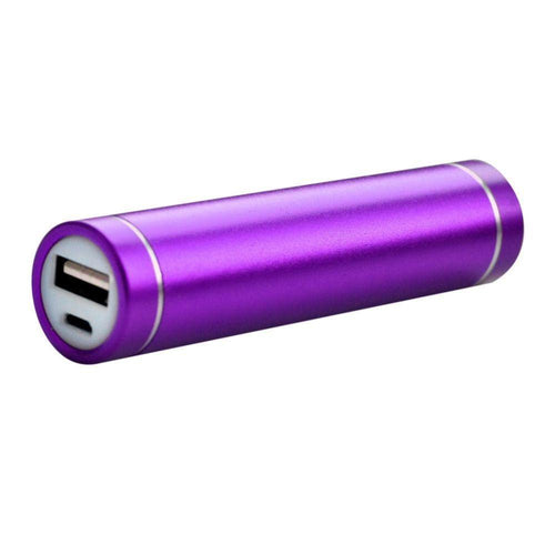 Motorola Adventure V750 - Universal Metal Cylinder Power Bank/Portable Phone Charger (2600 mAh) with cable, Purple