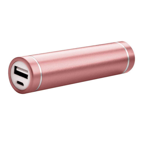 Motorola Droid Razr Maxx - Universal Metal Cylinder Power Bank/Portable Phone Charger (2600 mAh) with cable, Rose Gold