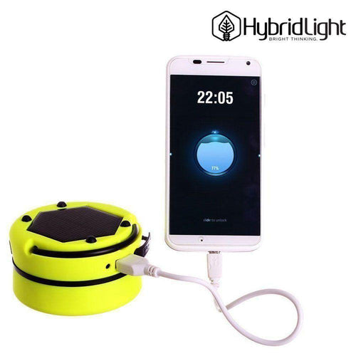 Motorola Droid Turbo 2 - OEM HybridLight 3-in-1 Solar Powered Lantern Flashlight and Portable Charger with USB cable, Yellow