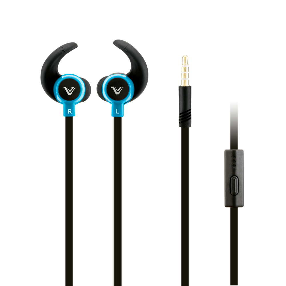 Headsets Audio Accessories - Votec SP92 High Def Tangle-Free 3.5mm Stereo Headset w/Microphone, Black/Blue