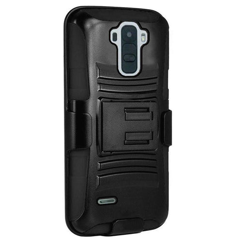 Lg Stylo 2 - My.Carbon 3-in-1 Rugged Case with Belt Clip Holster, Black