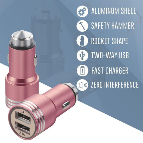 Pantech Breeze C520 - Dual USB Port Fast Charging Vehicle Power Adapter (3.1 Amp, 3100mAh), Rose Gold