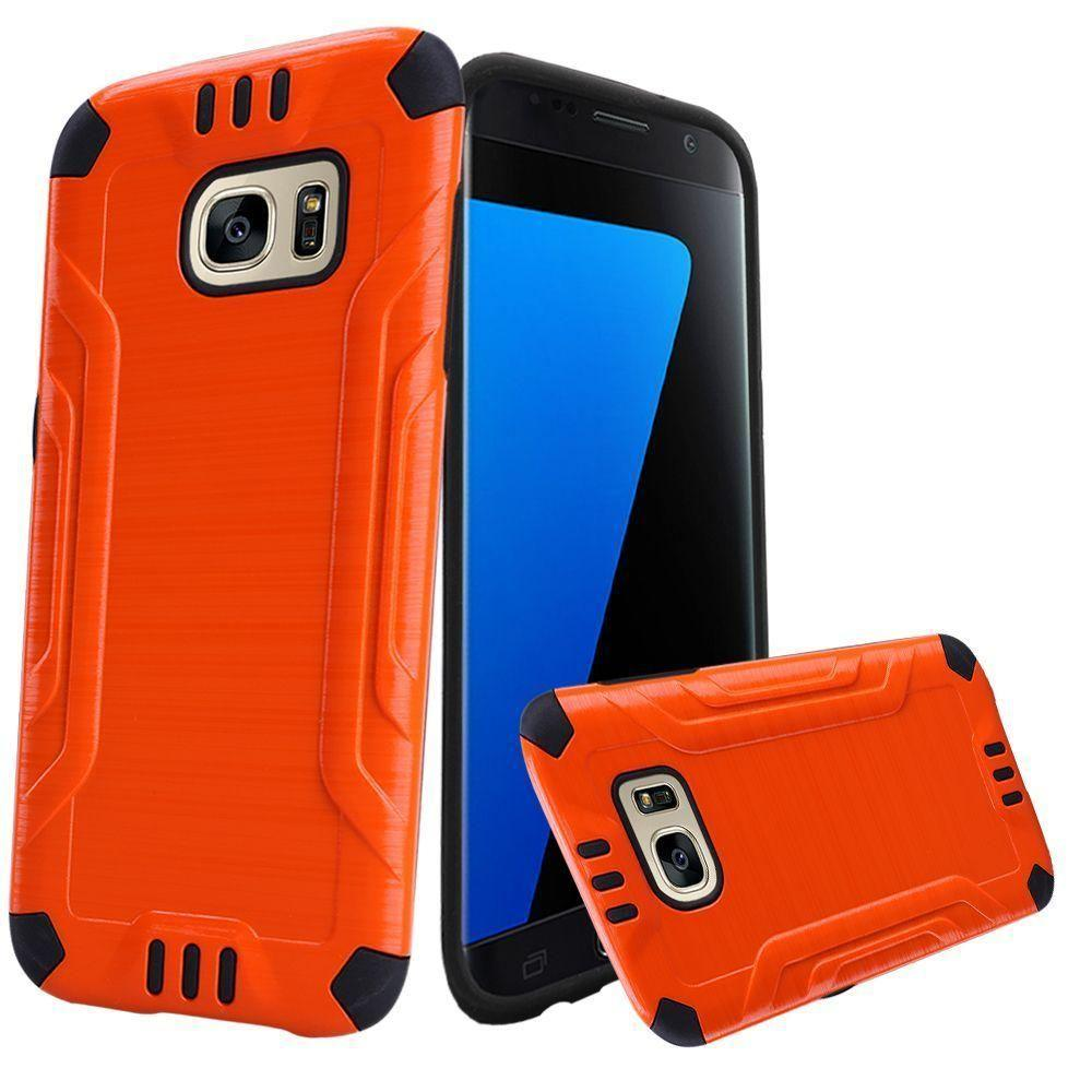 - Brushed Metal Design Combat Hybrid Rugged Case, Orange/Black for Samsung Galaxy S7