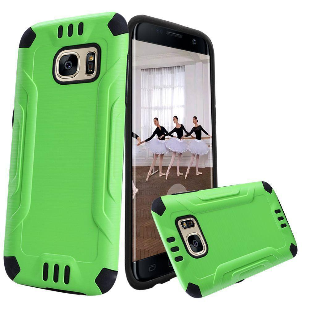 - Brushed Metal Design Combat Hybrid Rugged Case, Neon Green/Black for Samsung Galaxy S7 Edge