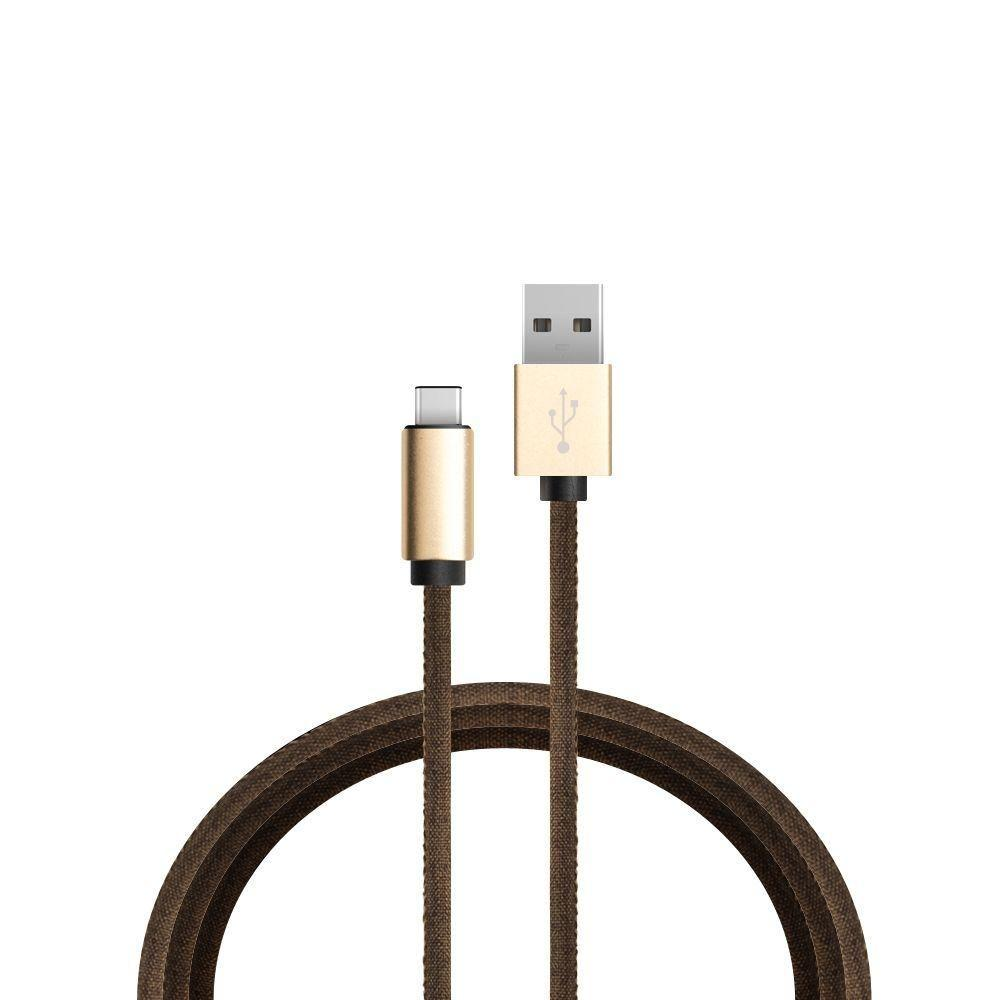 - Denim Micro USB Charge and Sync Cable, Brown