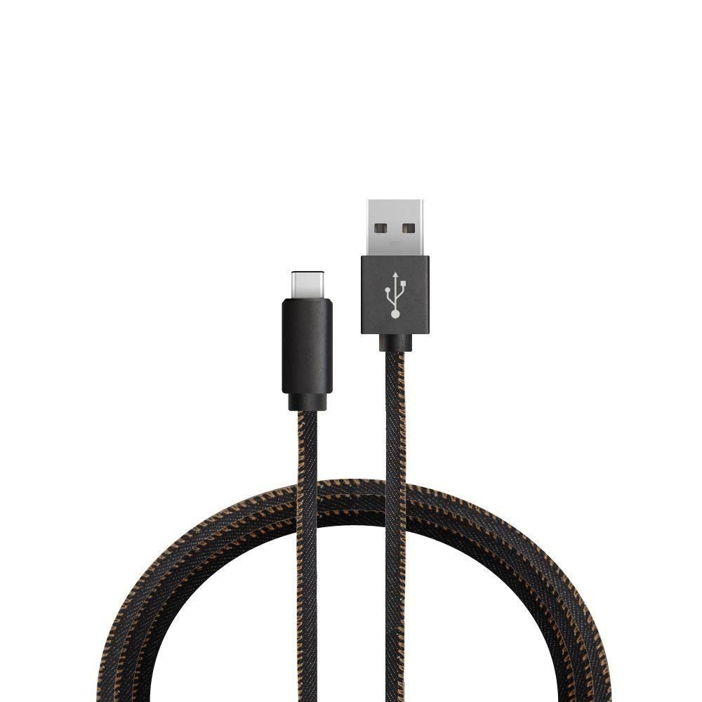 Ascend W1 - Denim Micro USB Charge and Sync Cable, Black