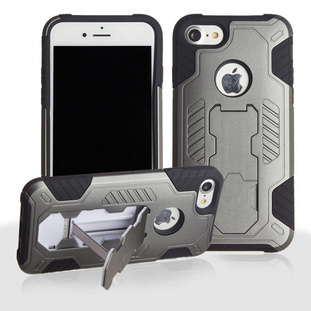 - Mantas Heavy-Duty Rugged Case with Stand and Holster Combo, Gray/Black for Apple iPhone 7/iPhone 8